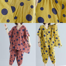Load image into Gallery viewer, Women's art yellow dot print long T-shirt top + casual cotton wide leg pants