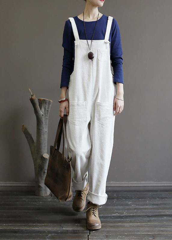 Women's autumn loose loose white corduroy overalls college jumpsuit