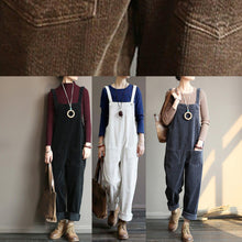 Load image into Gallery viewer, Women's autumn loose loose white corduroy overalls college jumpsuit