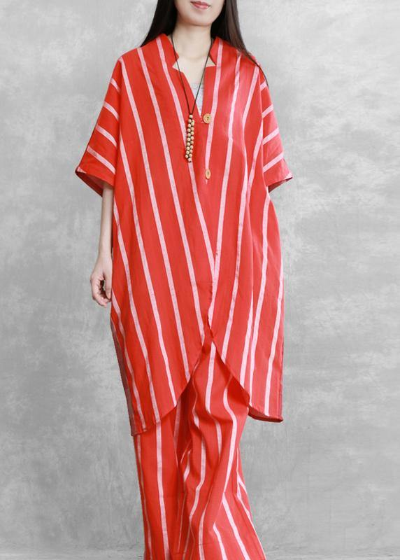 Women's loose suits, wear more red stripes stitching shirts, casual wide-leg pants