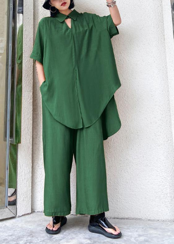 Women's retro plus size was thin and windy and wide-leg pants green two-piece suit