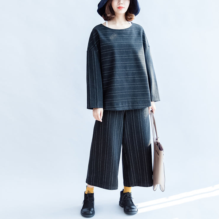 Woolen striped suits cotton tops and pants office dresses two pieces-fall