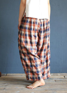 Xia Xin original design cotton and linen pants female loose nine points pants elastic waist