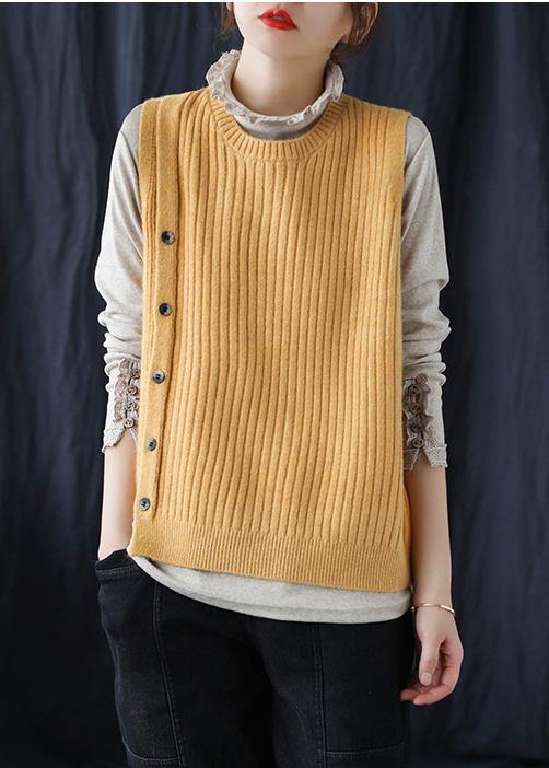 Yellow Crane Tops O Neck Sleeveless Fashion Spring Sweaters