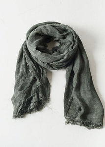 army green wrinkled scarf warm vintage cotton linen scarves