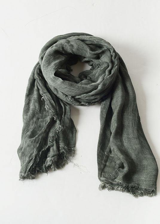 army green Cinched scarf warm vintage cotton linen scarves