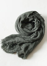 Load image into Gallery viewer, army green wrinkled scarf warm vintage cotton linen scarves