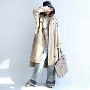 autumn beige cotton trench coat tie waist loose pockets lapel  parka