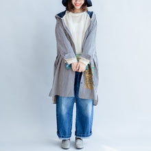 Load image into Gallery viewer, autumn black beige striped prints cotton shirt dress plus size hooded cardigans mid dress