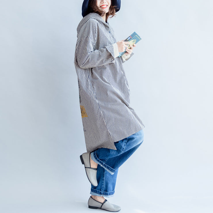 autumn black beige striped prints cotton shirt dress plus size hooded cardigans mid dress