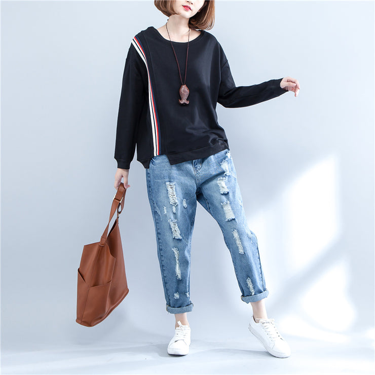 autumn black casual thick t shirt plus size long sleeve patchwork tops