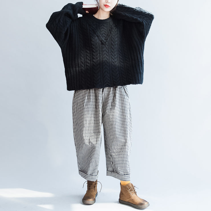 autumn black cotton cable knit sweater plus size side open fashion sweater