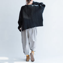 Load image into Gallery viewer, autumn black cotton cable knit sweater plus size side open fashion sweater