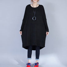 Load image into Gallery viewer, autumn black low high woolen knit dresses plus size casual long sleeve maternity sweater dress