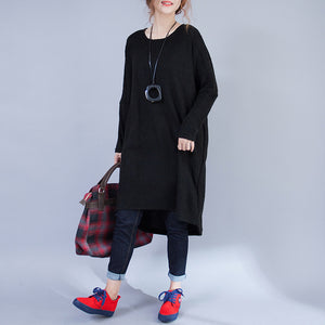 autumn black low high woolen knit dresses plus size casual long sleeve maternity sweater dress