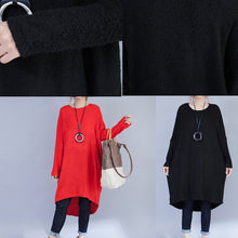 Afbeelding in Gallery-weergave laden, autumn black low high woolen knit dresses plus size casual long sleeve maternity sweater dress