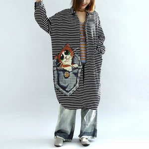 autumn black white striped cotton cardigans plus size casual long wrap coat