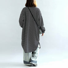 Load image into Gallery viewer, autumn black white striped cotton cardigans plus size casual long wrap coat