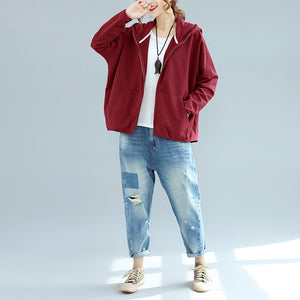 autumn burgundy casual cotton coats chunky oversize hooded long sleeve short cardigans outwear