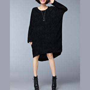 autumn casual black sweater dresses oversize long sleeve knit maternity dress