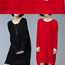 Load image into Gallery viewer, autumn casual black sweater dresses oversize long sleeve knit maternity dress