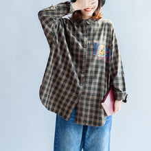 Load image into Gallery viewer, autumn casual blackish green cotton blouse oversize cartoon print batwing sleeve tops