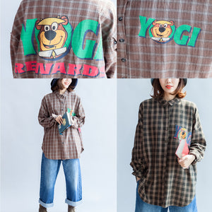 autumn casual blackish green cotton blouse oversize cartoon print batwing sleeve tops