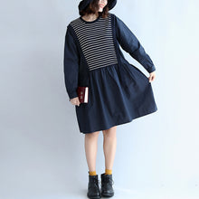 Load image into Gallery viewer, autumn cotton patchwork knit striped dresses oversize elastic waist long sleeve mid dress
