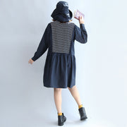 autumn cotton patchwork knit striped dresses oversize elastic waist long sleeve mid dress