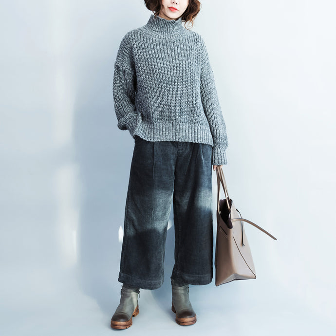 autumn dark blue casual corduroy pants vintage harem pants