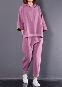 autumn dark pink hooded vintage tops and women casual trousers two pieces