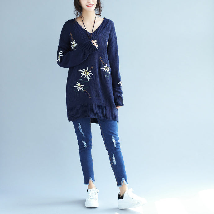 autumn fashion blue embroidery sweater dress oversize mid long knit pullover dresses