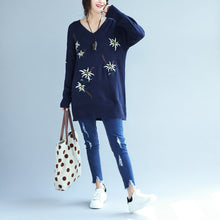 Load image into Gallery viewer, autumn fashion blue embroidery sweater dress oversize mid long knit pullover dresses