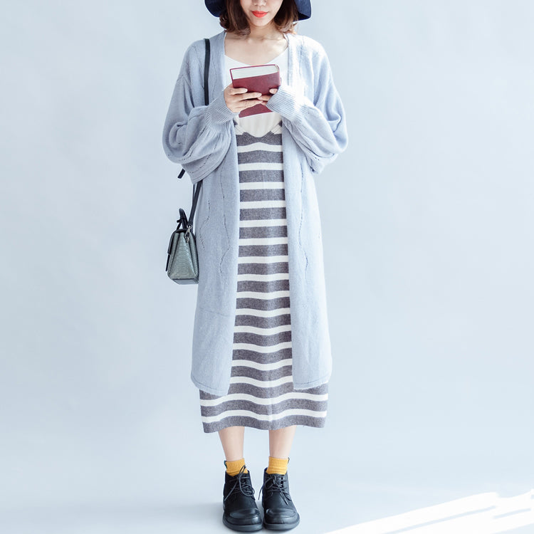 autumn fashion light blue cotton sweater outwear oversize hollow out sweater cardigan