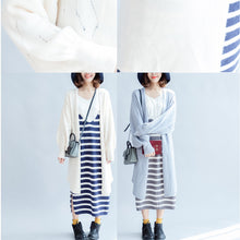 Load image into Gallery viewer, autumn fashion light blue cotton sweater outwear oversize hollow out sweater cardigan