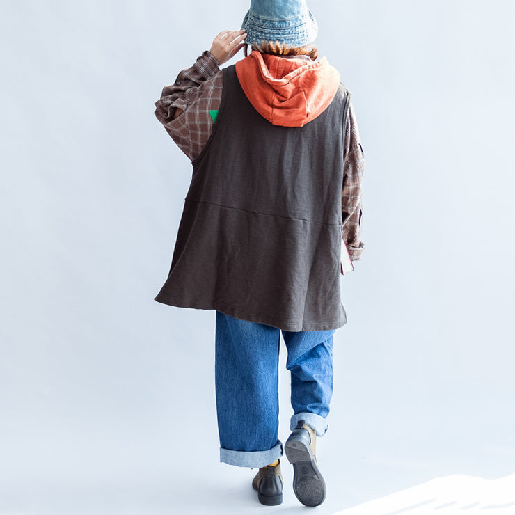 autumn gray cotton waistcoats plus size patchwork yellow hooded cartoon print pullover
