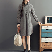 Load image into Gallery viewer, autumn gray grid cotton dresses plus size casual long sleeve lapel thick dress