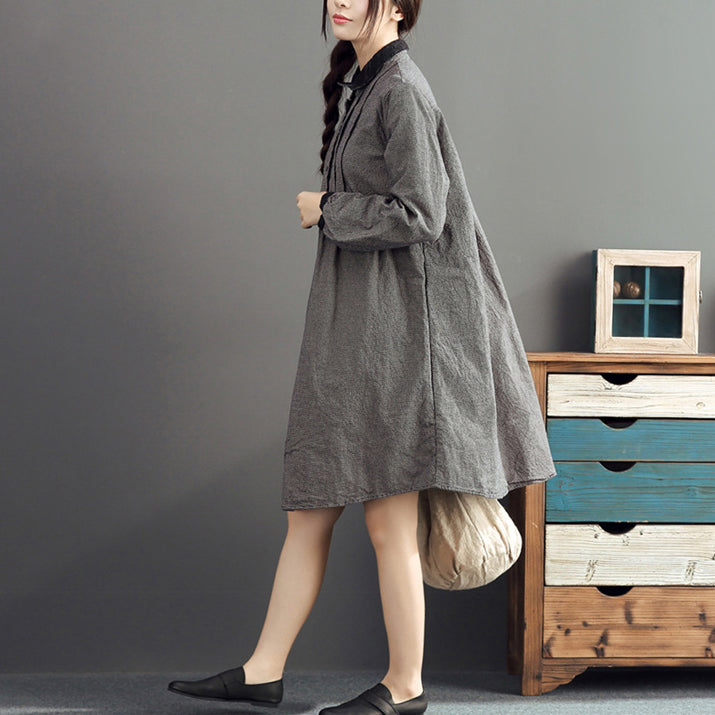 autumn gray grid cotton dresses plus size casual long sleeve lapel thick dress