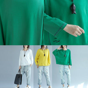 autumn green casual cotton pullover loose fashion batwing sleeve tops