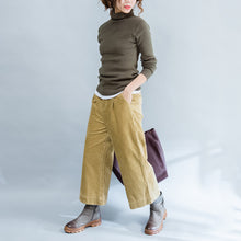 Load image into Gallery viewer, autumn green slim fit sweater fashion casual high neck knit tops