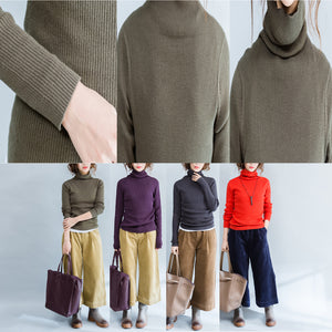 autumn green slim fit sweater fashion casual high neck knit tops