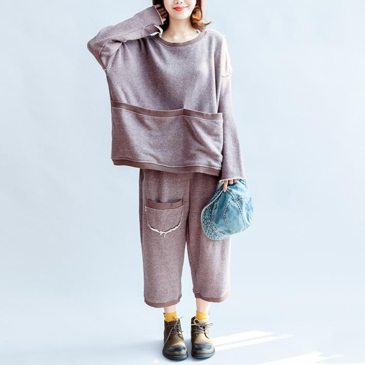 autumn light purple casual cotton knit tops and casual knit crop pants plus size pockets sport suit