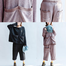 Afbeelding in Gallery-weergave laden, autumn light purple casual cotton knit tops and casual knit crop pants plus size pockets sport suit