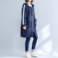 Load image into Gallery viewer, autumn navy casual sport coat cotton plus size slim fit zippered outwear