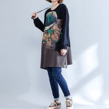 autumn new black patchwork cotton prints dresses plus size o neck mid dress
