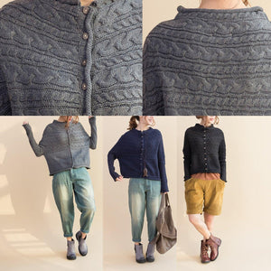 autumn new dark blue cotton sweater casual batwing sleeve woolen knit tops
