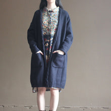 Load image into Gallery viewer, autumn new dark blue vintage cotton sweater cardigans plus size long sleeve knit coat