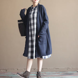 autumn new dark blue vintage cotton sweater cardigans plus size long sleeve knit coat