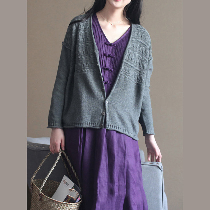 autumn new dark gray v neck cotton blended knit cardigans casual chunky cable sweater coat