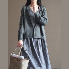 Load image into Gallery viewer, autumn new dark gray v neck cotton blended knit cardigans casual chunky cable sweater coat